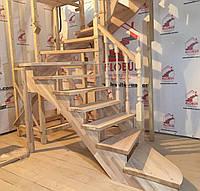 Деревянная лестница конструктор из бука Вариант 1, с поворотом 180 градусов