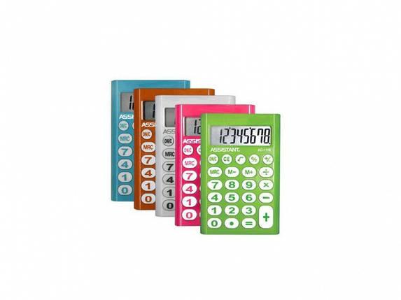 Калькулятор карманный Assistant АС-1116 оранжевый 8 разряд, 93х62х10, пласт корп, резин кн                                                           , фото 2