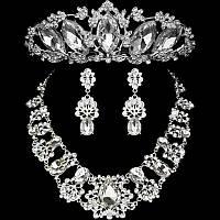 Комплект корона, диадема, тиара с  колье и серьгами в серебре с обычными камнями , высота 5 см.