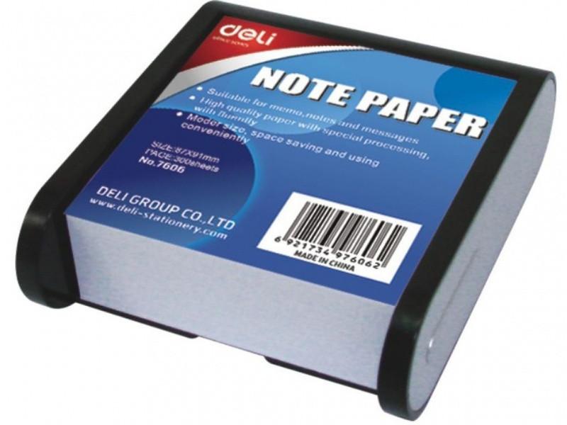 Блок бумажный Deli 7606Е серо/черный 8,7*9,14 в пласт