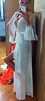 Женская Белая Длинная Шифоновая Туника-Накидка р.40-50, фото 1
