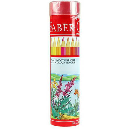 Карандаши цветные Faber_Castell 115827 24цвета шестигранные красная линия, металл. тубус, фото 2