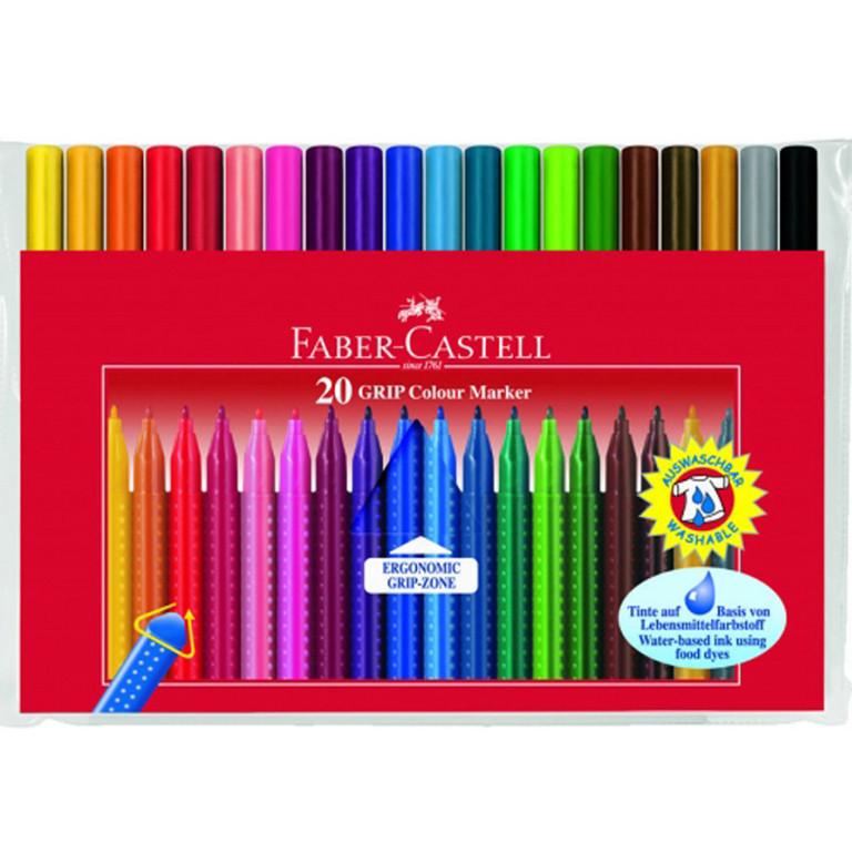 """Фломастеры Faber_Castell 155320 20цветов 2мм треугольные """"Grip"""" блист/пак"""
