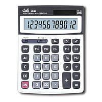 Калькуляторы бухгалтерские Deli 1616Е серый 12 разряд, 208х154х40 метал корп