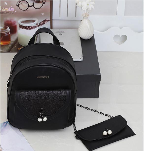 Городской женский рюкзак черный с сумкой-косметичкой в комплекте