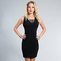 Платье черное с отделкой спереди 38,40,42,44,46,48,50 размеры