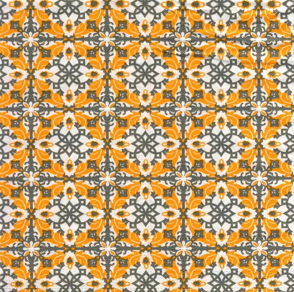 Салфетки декупажные Оранжевый орнамент 2939