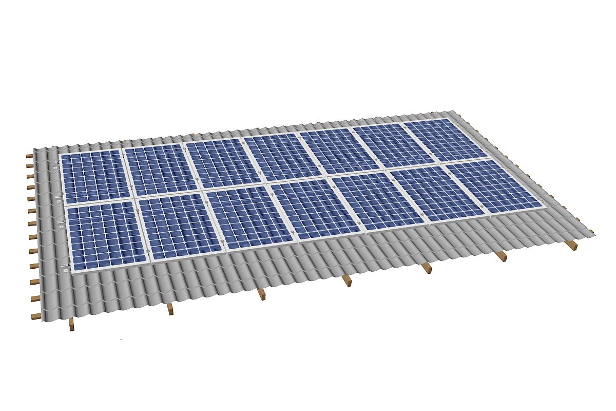 Система креплений для скатной крыши SolarSK на 14 модулей