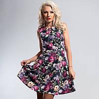 Платье темно-зеленое принт цветы 42,46 размеры
