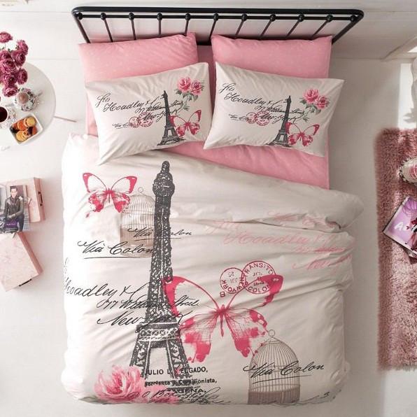 Комплект постельного белья евро ТАС Giselle pembe