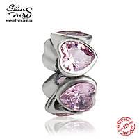 """Серебряная подвеска-шарм Пандора (Pandora) """"Розовые сердца. Разделитель"""" для браслета"""