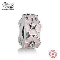 """Серебряная подвеска-клипса Пандора (Pandora) """"Розовые примулы"""" для браслета"""