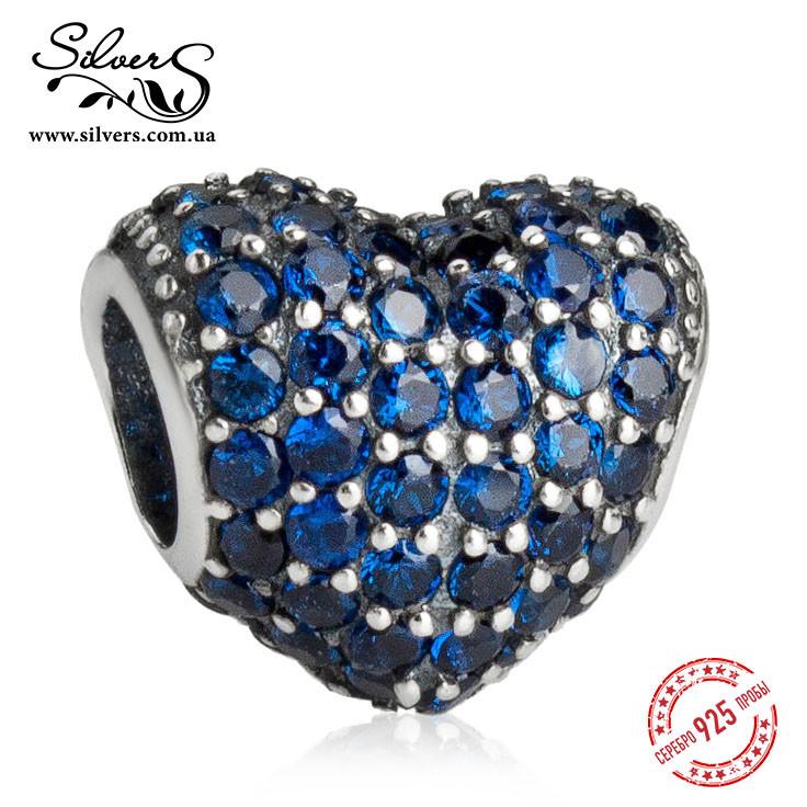 """Серебряная подвеска шарм Пандора """"Синее сердце Паве"""""""