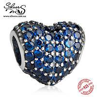 """Серебряная подвеска шарм Пандора """"Синее сердце Паве"""", фото 1"""