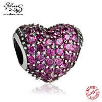 """Серебряная подвеска-шарм Пандора (Pandora) """"Розовое сердце Паве"""" для браслета"""