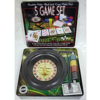 """Игра J_Otten G07428 """"5 наборiв iгор-рулетка, покер, Блек джек, костi"""""""