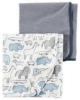 Набор из 2-х хлопковых пеленок Зверюшки Синий Carter's