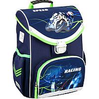 """Ранец Kite16 K16-529S-2 синий каркасный """"529 Moto Racing"""" размер 36x27x14см, вес 850г, объём 13л, ортопедическая спинка"""