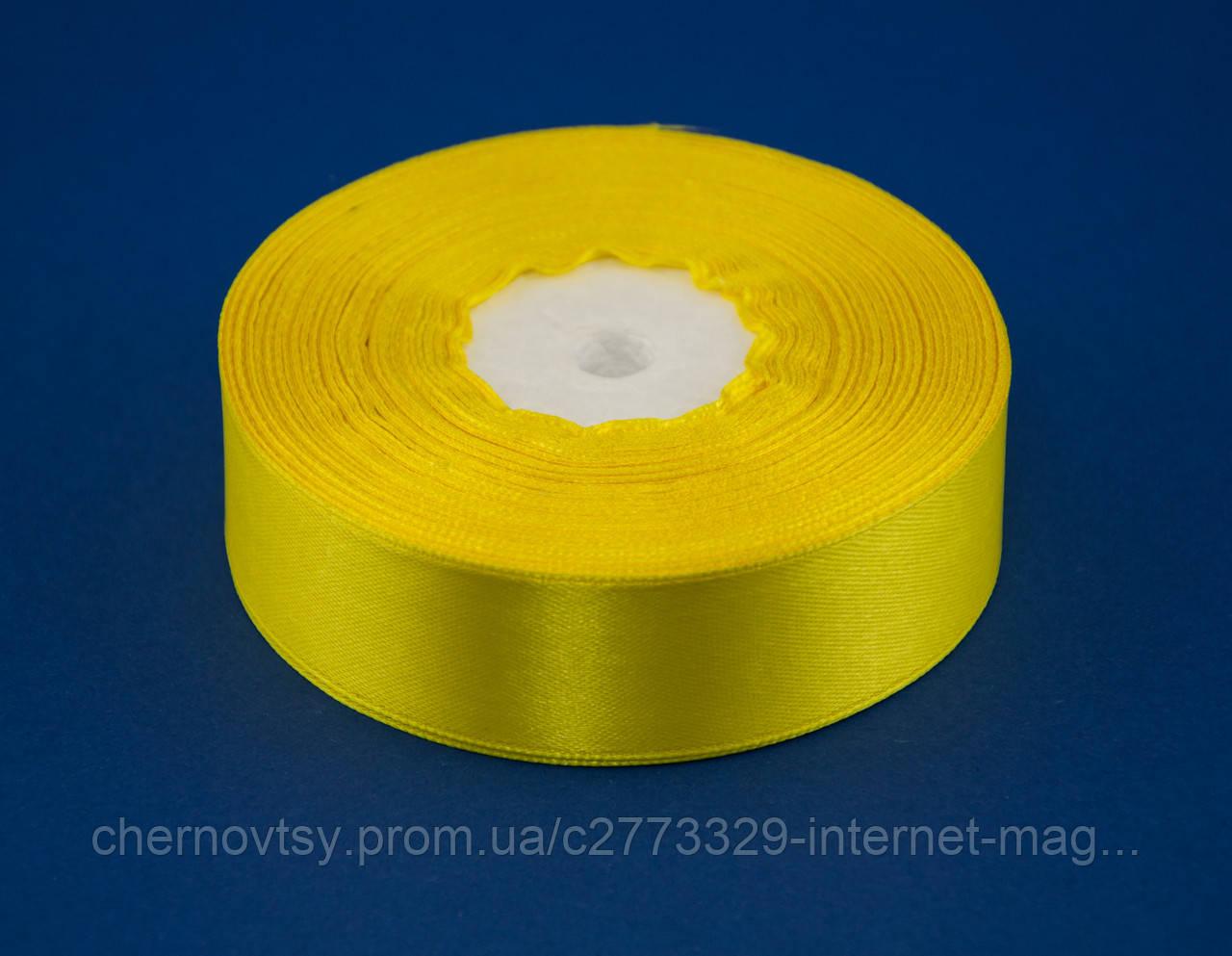 Лента атлас 1.2 см, 33 м, № 15 Жёлтая