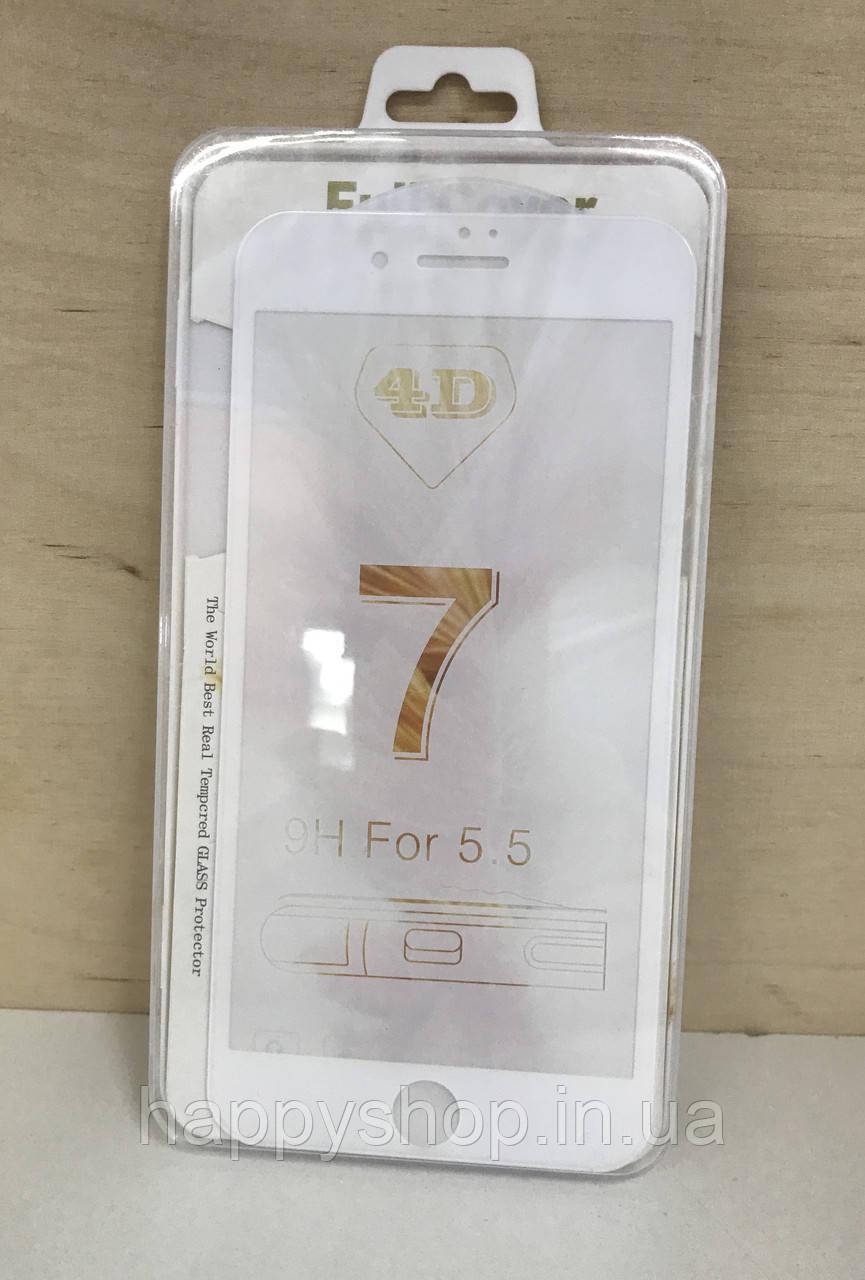Защитное 3D стекло для iPhone 7 Plus (White)