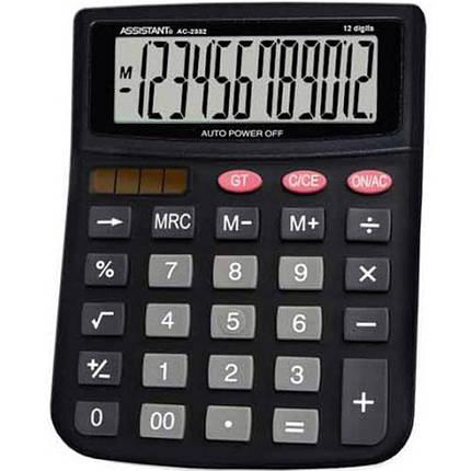 Калькулятор бухгалтерский Assistant АС-2332 черный 12 разряд, 143х100х25, пласт корп, пласт кн                                                       , фото 2