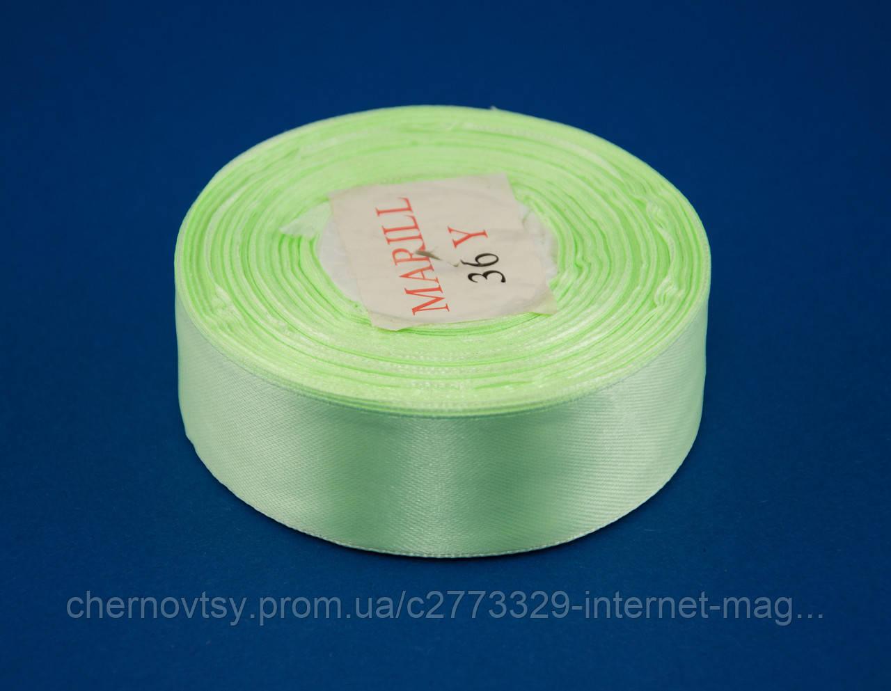 Стрічка атлас 1.2 см, 33 м, № 52н Світло-салатова