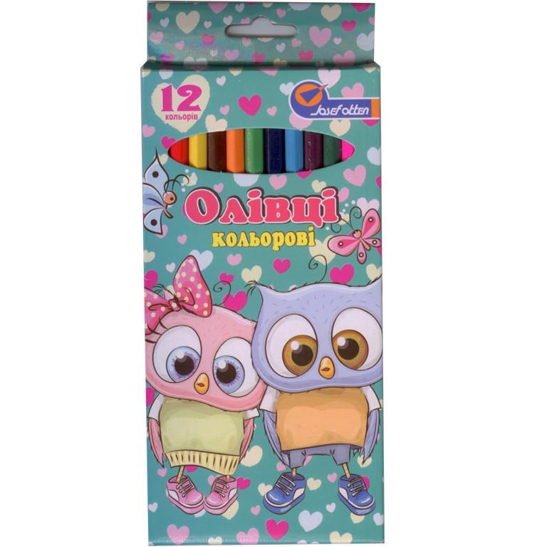 """Карандаши цветные J_Otten 7303-12D 12цветов """"Совята"""" карт/кор з пiдвiсом"""