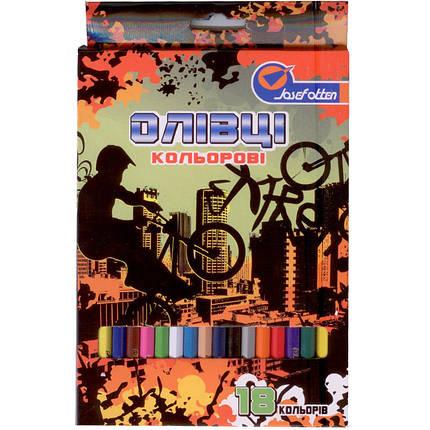 "Карандаши цветные J_Otten 1051-18F 18цветов пласт ""Extreme"" карт/кор з пiдвiсом                                                                       , фото 2"