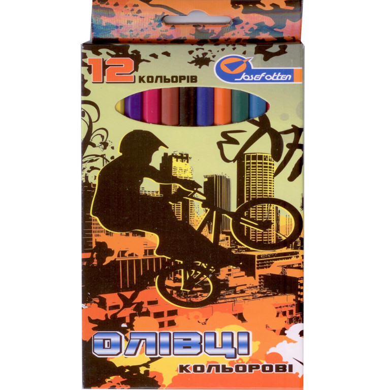 "Карандаши цветные J_Otten 1051-12F 12цветов пласт ""Extreme"" карт/кор з пiдвiсом"