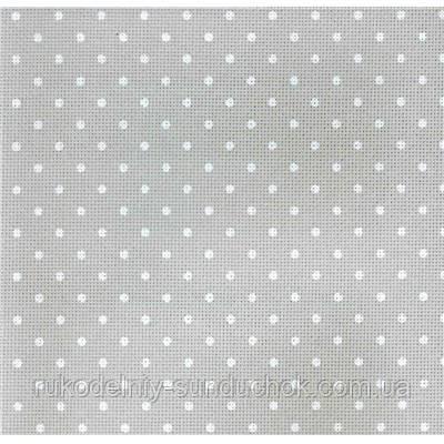 Aida Zweigart 20 ct. Extra Fine Aida Petit Point 3326/7349 Gray linen/white dots (серый в белый горошек) 50*55