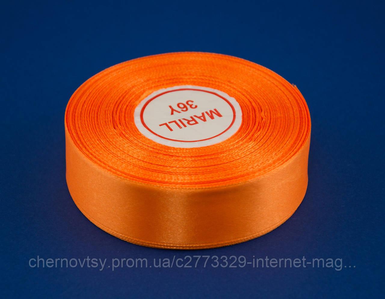 Стрічка атлас 1.2 см, 33 м, № 151 Світло-помаранчева