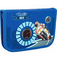 "Пенал CF17 CF85931 голубой 19,5х13х3,5см,""Moto Club"", пластик; 1 отд. на молнии.,1 с отворотом"