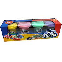 Пластилиновая паста Colorino 34326PTR 4цветов пластичная для творчества пастельных цветов с блестками