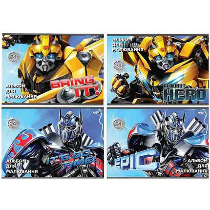 Альбом для рисования Kite TF17-242 24л А4 скоба 120г/м2 Transformers УФ-лак                                                                          , фото 2