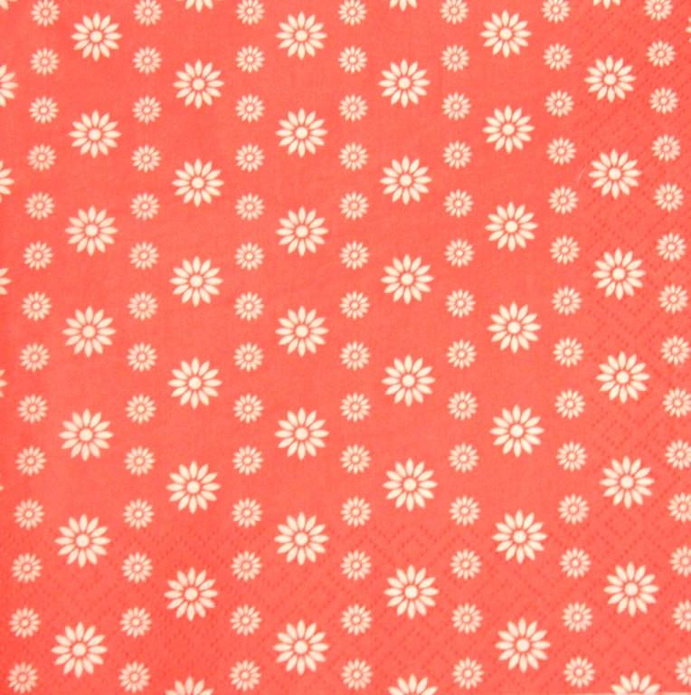 Салфетки декупажные Цветочки на кораловом фоне 2956