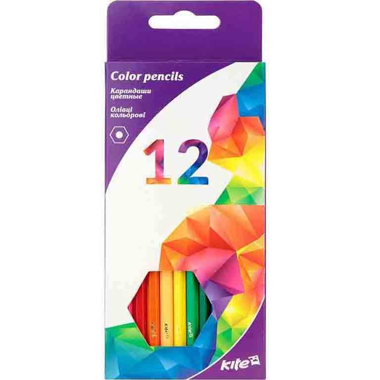 """Карандаши цветные Kite K17-051-3 12цветов шестиг. """"Геометрiя""""карт/кор з пiдвiсом"""