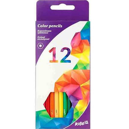 """Карандаши цветные Kite K17-051-3 12цветов шестиг. """"Геометрiя""""карт/кор з пiдвiсом                                                                      , фото 2"""