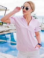 Летняя блуза прямого покроя-розовый
