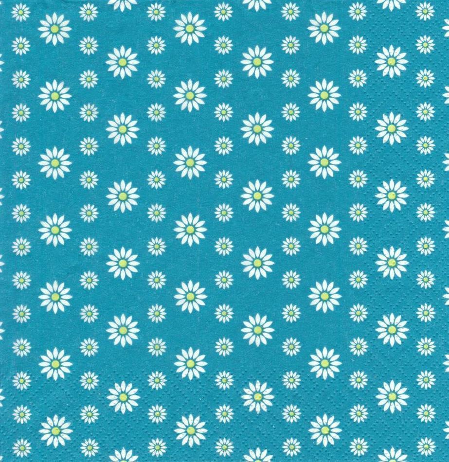 Салфетки декупажные Цветочки на бирюзовом фоне 2957