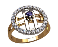 Женское золотое кольцо Галактика