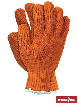 Защитные рукавицы, выполненные из трикотажа оранжевого цвета, завершены резинкой RCROSS P, фото 2