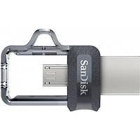 Флеш память 32 GB SanDisk Ultra Dual OTG Gray USB 3.0 / OTG (SDDD3-032G-G46), скорость записи: 70 Mbit / s, чт