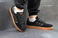 Мужские кроссовки Adidas Gazelle, замш, черные / беговые кроссовки мужские Адидас Газель, стильные