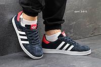 Мужские кроссовки Adidas Gazelle, замш, синие с белым / кроссовки для зала мужские Адидас Газель, модные