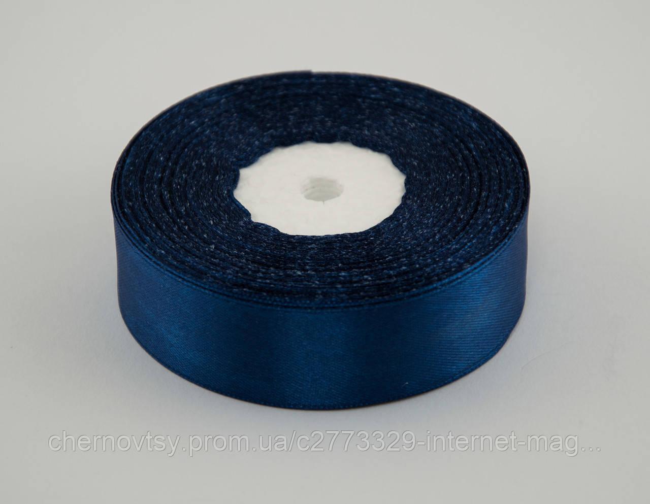Стрічка атлас 2 см, 33 м, № 38 Темно-синя