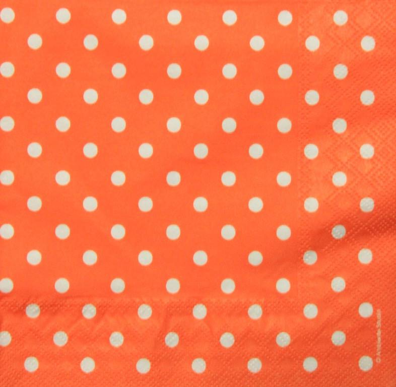 Салфетки декупажные Оранжевая в белый горошек 2961