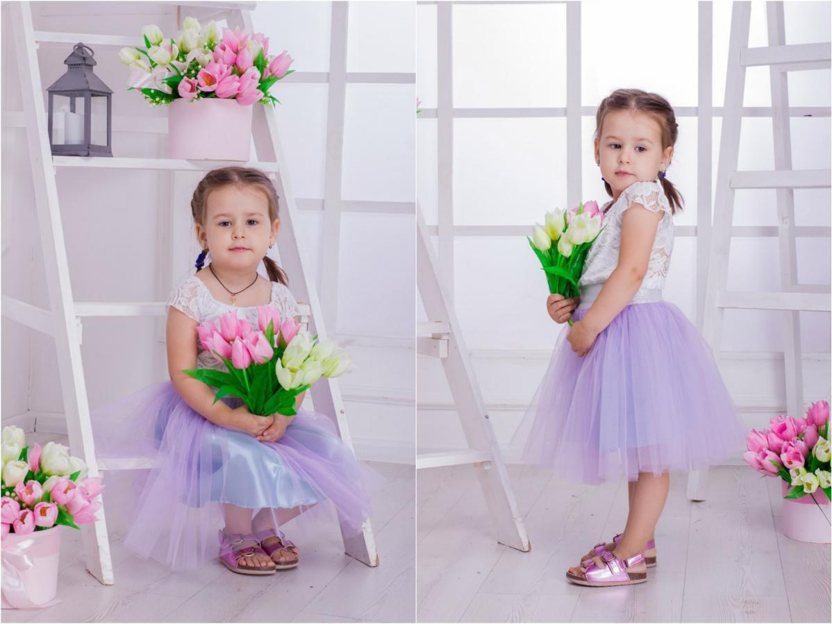 Пышная фатиновая с подкладкой юбка для девочки балеринки