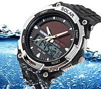Мужские Спортивные Часы Skmei Solar Черные с серебряным (Код 076), фото 1