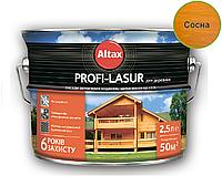 Лазурь-лак алкидный с воском ALTAX PROFI-LASUR для деревянных фасадов сосна, 2,5л