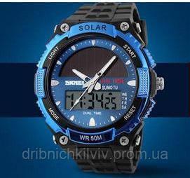 Мужские Спортивные Часы Skmei Solar Черные с синим (Код 076)